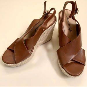 Tan Faix Leather American Eagle Wedges Sandals